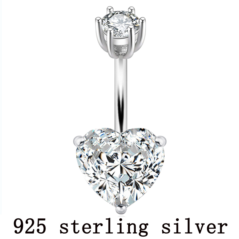 925 Pure Silver Belly Button Ring Real Genuine Silver Navel Ring Body Piercing Jewelry Heart Stone Zircon Pin Length 6 8 10 Mm