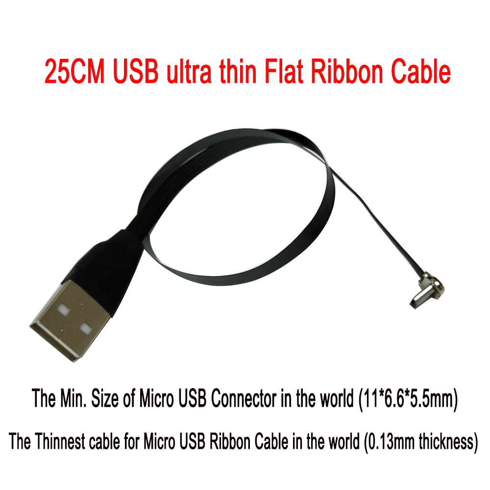 25cm Flat FPV ultra thin super soft low profile right angled Micro USB <font><b>90</b></font> degree to usb 2.0 male FPC Ribbon data charging Cable image
