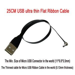 Image 1 - 25cm płaski FPV ultra cienki super miękki niski profil prostopadły Micro USB 90 stopni do usb 2.0 męski FPC wstążka kabel do ładowania danych