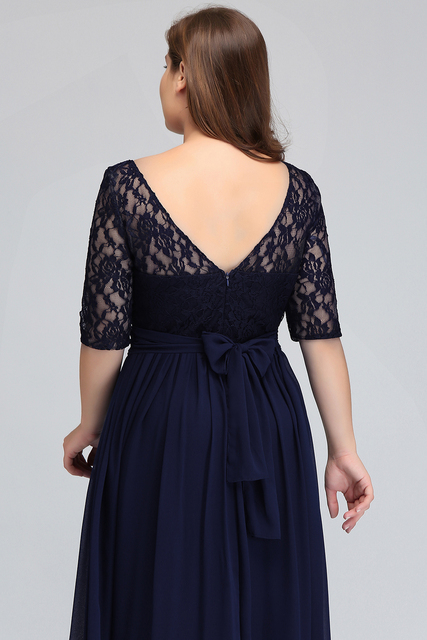 Elegant Half Sleeve Plus Size Lace Long Evening Dress  Sexy Royal Blue V Back Evening Gowns Robe de Soiree Longue 4