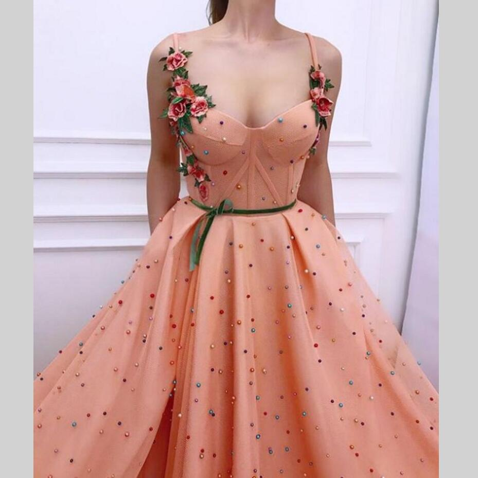 Long   Evening     Dresses   Flowers Prom   Dress   Pearls New Women Formal Gown For Prom Wedding Party   Dresses   Robe De Soiree