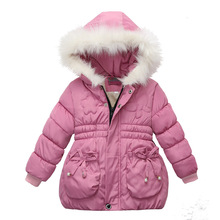 Winter Warm Thicken Fur Collar Child Coat Children Outerwear Windproof Fleece Liner Baby Girls Jackets For 90 110cm