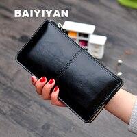 Винтажный женский кожаный бумажник с застёжкой-молнией, Женский кошелек, многофункциональный простой кошелек