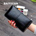 Women famous brand Oil wax leather zipper clutch wallet female purse lady Multi-function phone bag