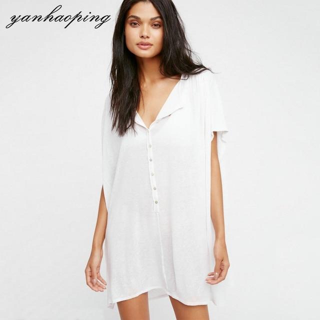 Summer Women\'s Long Button Shirt Dresses Female Plus Size Loose ...