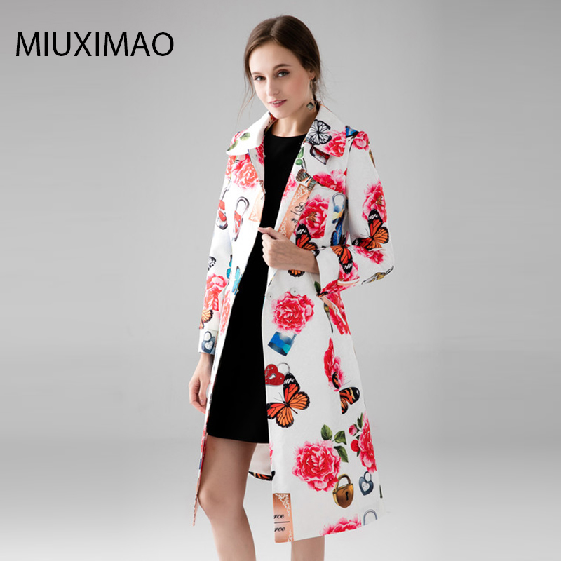 Custom Plus Size Coat S-7XL High Quality Long Coat Women Full Sleeve Elegant Butterfly Flower Rose Print Vintage Coat Women