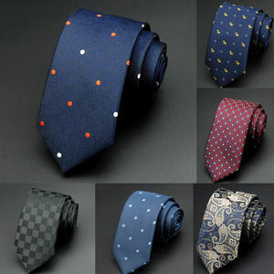 GUSLESON 6cm Dot Neckties Jacquard Slim Green Tie For Men
