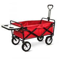 Upgrade Household Portable Shopping Cart with Table, Steel Frame Outdoor Camping Cart, Folding Utility Wagon with Side Table