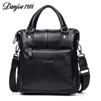 DANJUE Genuine Cow Leather Briefcase Soft Handle Handbag Business Crossbody Bags Specially Designed Male Bag For Business Trip