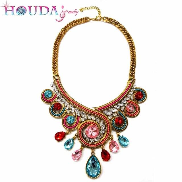 9684a1d7b2 US $30.0 |Aliexpress.com : Buy HOUDA X062 Wholesale 12pcs Boho necklaces &  pendants collar Vintage fashion big chunky choker statement chain women ...