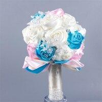Lüks Ipek Çiçek Düğün Araba Dekorasyon Çiçek Romantik Fildişi Gelin Buketleri Renkli Şerit Inci Yapay Çiçekler