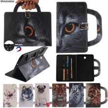 Card Slots Tablet Case For Samsung Galaxy Tab A 8.0 SM-T350 T355 P350 Dog Cat Tiger Handbag Flip PU Wallet Leather Magnet Cover