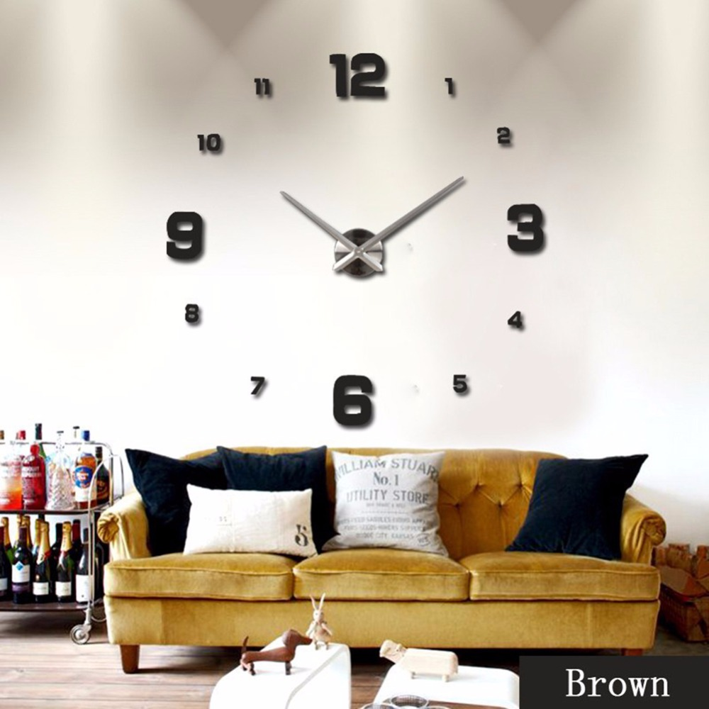 Classical Acrylic Mirror Wall Clock 3D Wall Posters Living Room ...