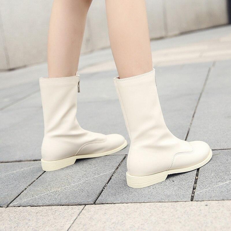 Cheville blanc Noir Bottes Vintage Size34 Véritable À Blanc Fermetures 40 Cuir Plat D'hiver Noir En Style Plus Glissière Botas Avant 2019 Femmes RSI1Iq