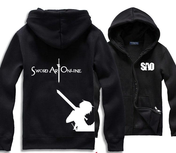 Mens Casual Japonais Anime SAO Épée Art En Ligne Kirito Hoodie Zip Up Imprimer Sweat Manteau Vêtements 5 Couleurs