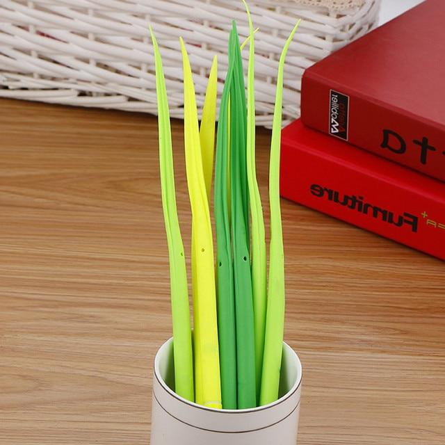 100 Pcs Creative Small Fresh Simulation Grass Gel Pen Cute Student Soft Quality Office Signature Pen Kawaii School Supplies