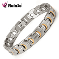 Gold Plated Healing Magnetic Bracelet Men 316L Stainless Steel Magnetic Health Care Elements Gold Bracelet Hand Chain OSB-738