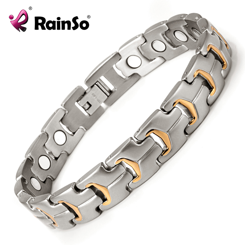 Healing Magnetic Bracelet Men 316L Stainless Steel Magnetic Health Care Elements Gold Bracelet Hand Chain OSB-738