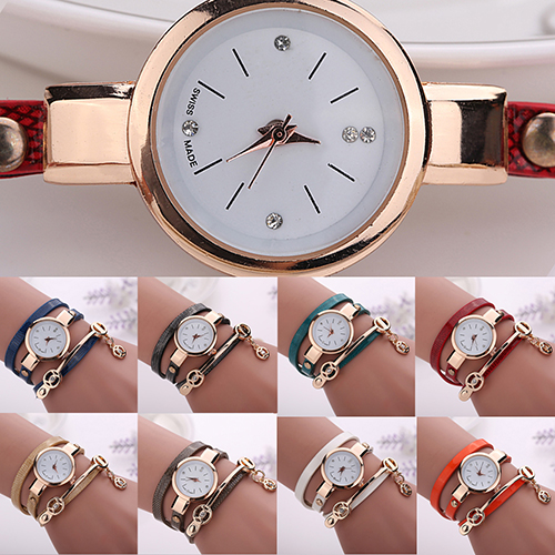 Luxury Brand  Women Long Slim Faux Leather Strap Round Analog Crystal Dial Quartz Wrist Watch 75H3