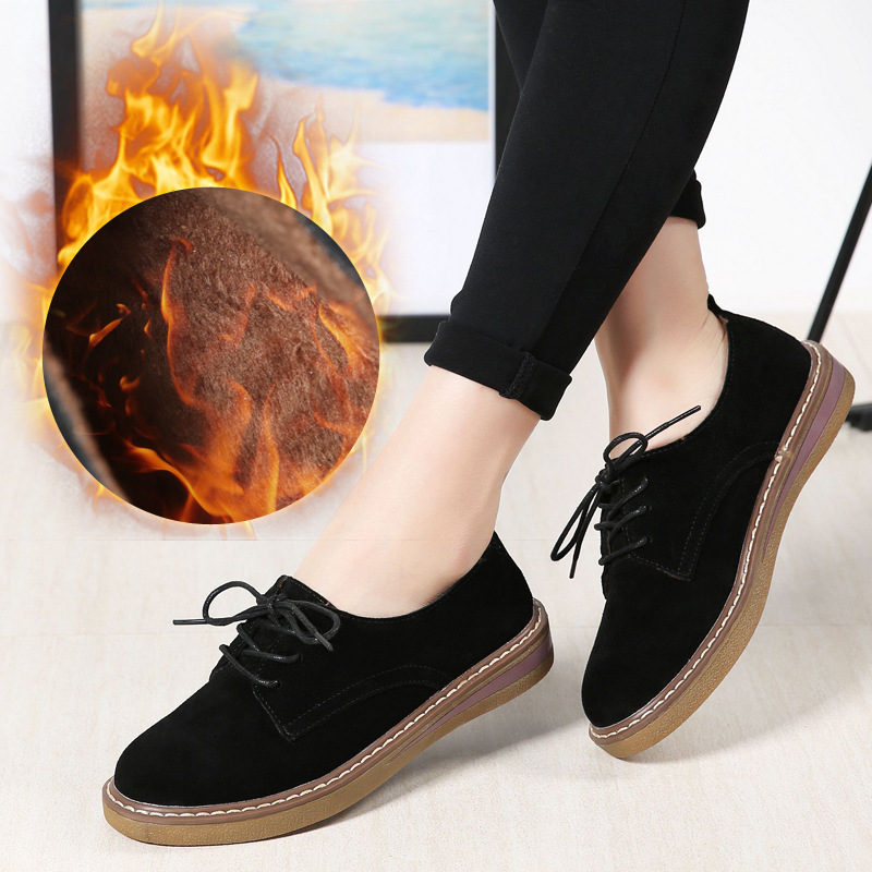 2019 Winter women sneakers oxford shoes flats shoes with fur women   leather     suede   lace up round toe flats women warm shoes