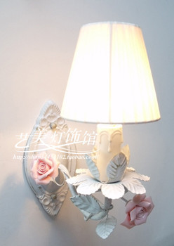 fashion  candle rose iron wall lamp rustic lamp bed  lamp
