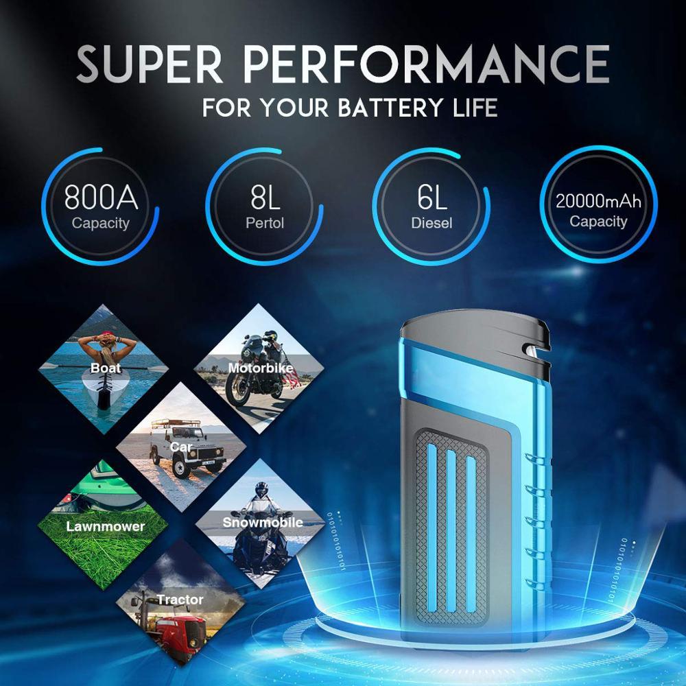 Multi-fonction 20000 mAh 800A saut démarreur Portable dispositif de démarrage voiture batterie externe 12 V chargeur de voiture pour voiture batterie Booster Buster