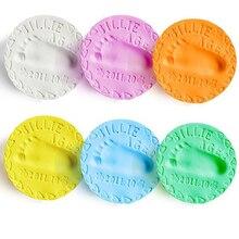 8 Barva 20g * 2 Dětská péče Sušení na vzduchu Měkké modelování Barevná hlína Handprint Footprint Imprint Kit Odlévání Parent-child Inkpad Finger