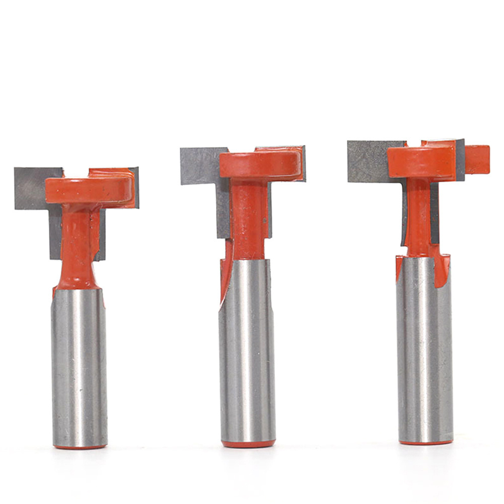 1Pc T-Slot Milling Cutters 12Mm Handle Slot Engraving Machine Woodworking Straight Flange T-Shaped Milling Cutters A