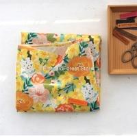 Korea imports digital printing of cotton and linen.Pastoral Handmade DIY,Gold wrapped garment dress fabrics. 90cmx150cm