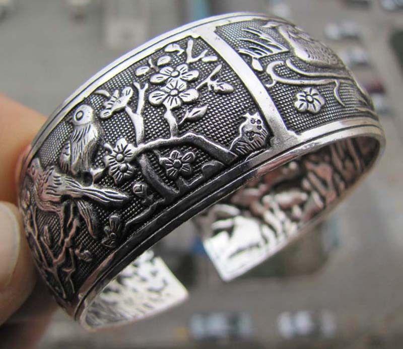 Women Vintage Bracelets Wide Bird Flower Printing Tibet Silver Plated Totem Cuff Bracelets Bangles High Quality