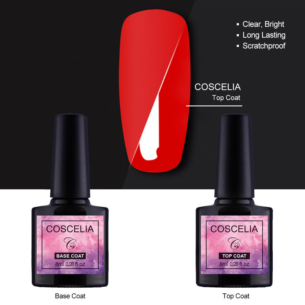 COSCELIA 1pc 8ml Base and Top Coat Gel Nail Polish UV Gel Transparent Soak Off Primer Gel Polish Gel Nail Art Manicure in Nail Gel from Beauty Health