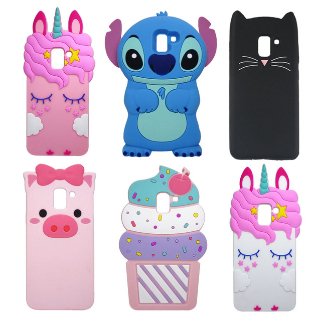 the latest 60cdf 6e676 US $1.63 18% OFF|For Samsung Galaxy J6 2018 Phone Case J600 J600F 3D  Cartoon Unicorn Stitch Minnie For Samsung J6 2018 EU Back Cover Soft  Silicon-in ...