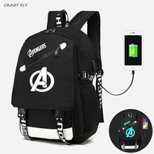 Avengers Dạ Quang Ba Lô Đi Học Cho Bé Trai USB Sạc Du Lịch Đeo Vai Túi Xách Ba Lô Bé Gái In Canvas Có Túi Ba Lô Laptop