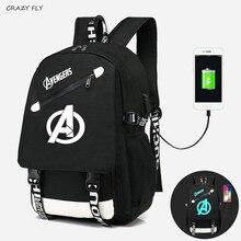 Avengers 소년을위한 빛나는 배낭 학교 usb 충전 여행 어깨 배낭 가방 소녀 캔버스 인쇄 배낭 노트북 배낭