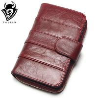 2015 New Style Layer Of Import Oil Wax Cowhide Medium Paragraph Buckle Leather Wallet Women S