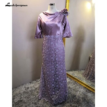 Real Photos Mother of the Bride Groom Dresses Mermaid Lace Satin Top Cowl Neckline Half Sleeves Formal Wedding Guest Gown