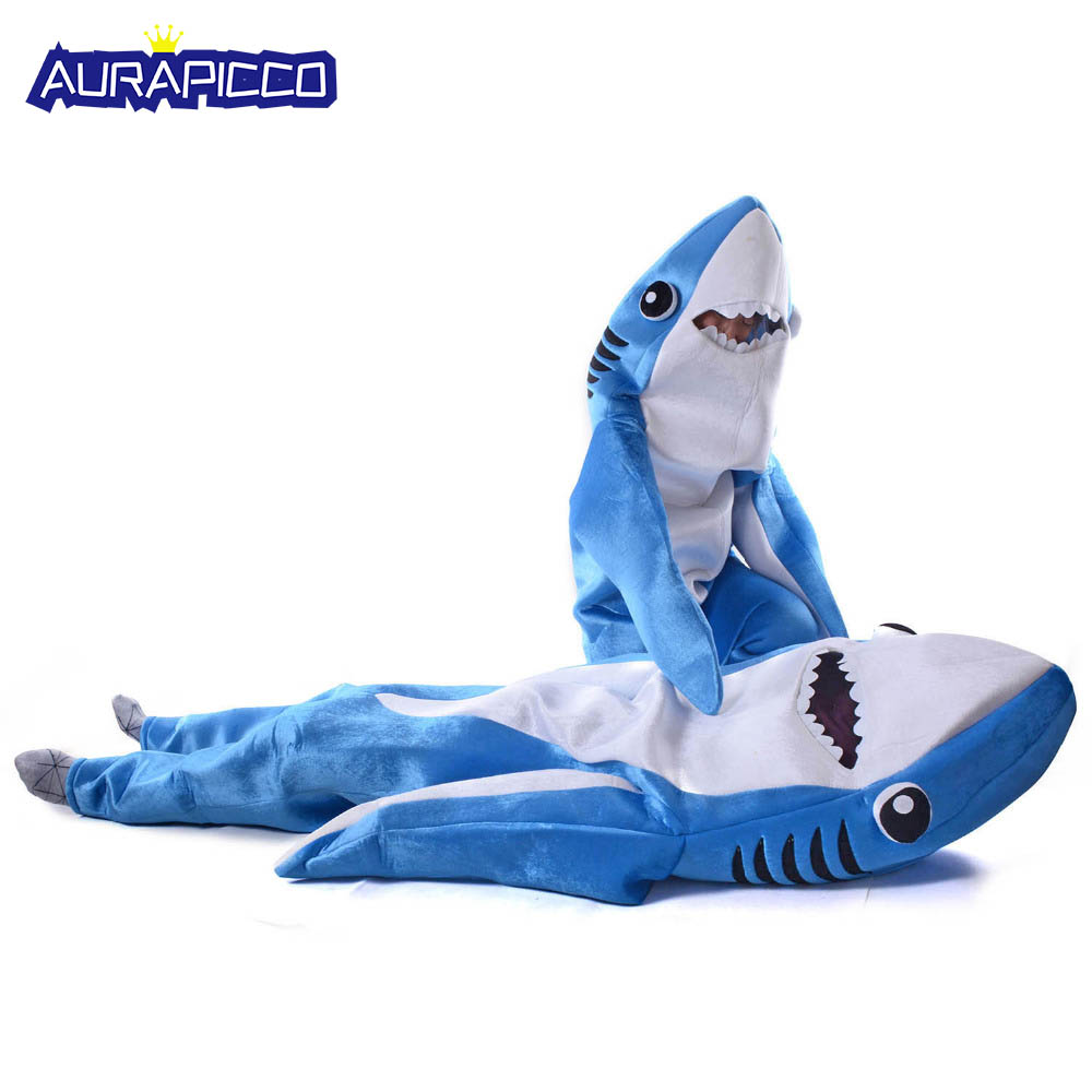 Blue Shark Costume Adult Kids Party Shark Cosplay Jumpsuit Unisex Sea Animal Costume Funny Halloween Fancy Dress Jaws Mascot