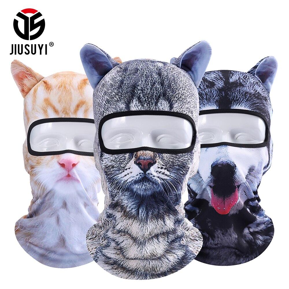 3D Cat Animal Ear Balaclava Full Face Mask Bicycle Hats Snowboard Winter Warmer Face Mask Cat Dog Skullies Beanie Cap Men Women