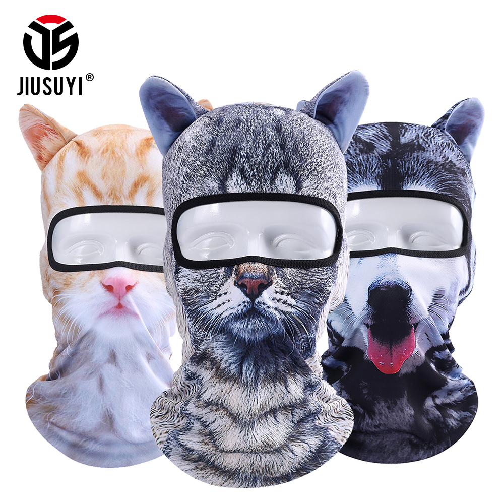 3D gato Animal oreja Balaclava máscara de cara completa bicicleta sombreros Snowboard invierno más cálido cara máscara gato perro sombrero Beanie Cap las mujeres de los hombres