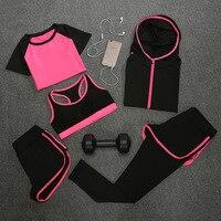 2017 Fashion Women Set Sporting 5 Suit Short Sleeve Tshirt Coats Bra Shorts Fitness Quick Drying