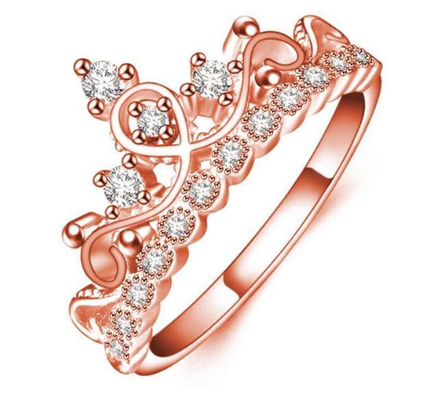 Célèbre Mode Rose Or Argent Couleur Cuivre CZ Zircon Princesse Couronne  KQ42
