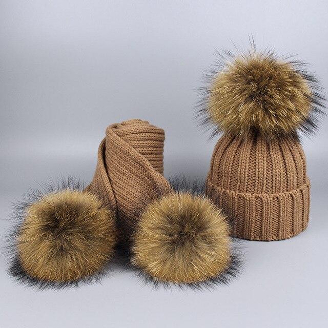 Women Children Winter Pom Pom Hats Beanie Warm Knitted Bobble Fur Fur Pompom Hat Scarf Set Kids' Nature Raccoon Fur Pompon Hat