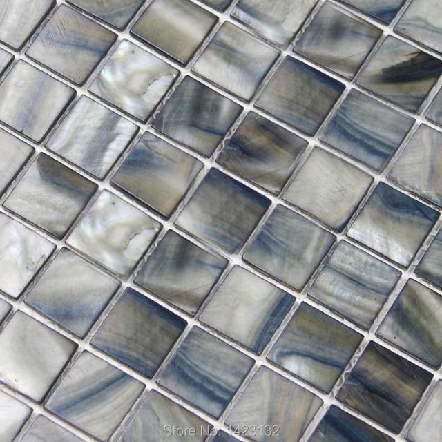 Natürliche Shell Fliesen Grau Mixed Blau Perlmutt Mosaik Wandfliesen - Mosaik fliesen grau mix
