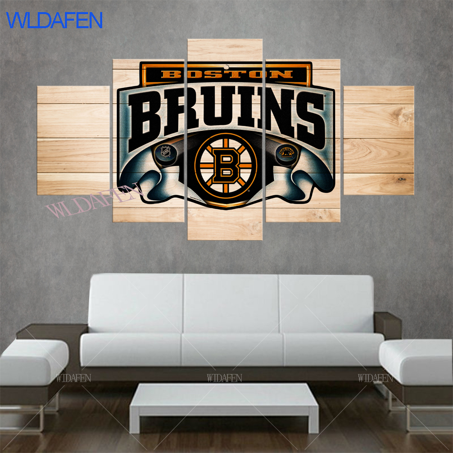 5 piece canvas art boston bruins print wall pictures for living room framed wall art canvas Sport Ice hockey team logo poster ...