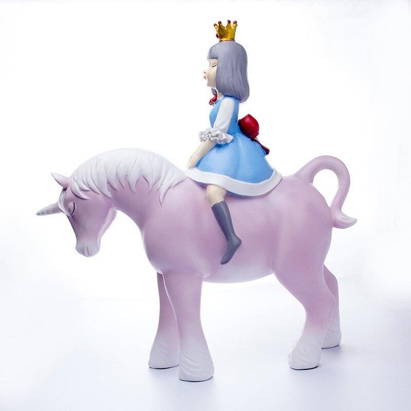 Fille équitation licorne décoration de la maison modèle maison douce décoration chinoise créative artisanat résine