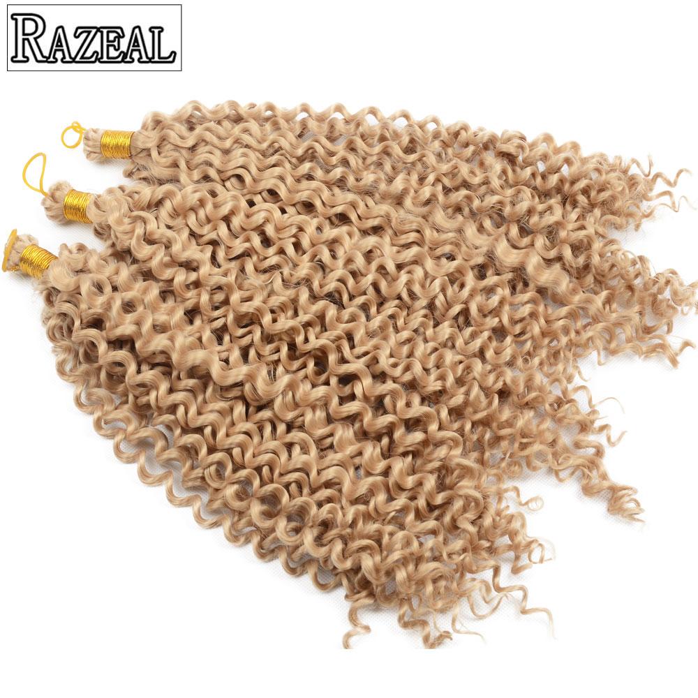 Razeal Curly Crochet Braids თმის 14in 5 პაკეტები ნაცრისფერი, შავი, ყავისფერი, ქერა, მეწამული სინთეზური სამკერვალო თმის გაფართოება მაღალი ტემპერატურა
