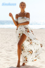 Women Short Sleeve Off Shoulder Dress Summer 2017 Beach Casual Printed Sexy Club Party Dresses Female Open Split Maxi Long Dress all over printed open shoulder dress