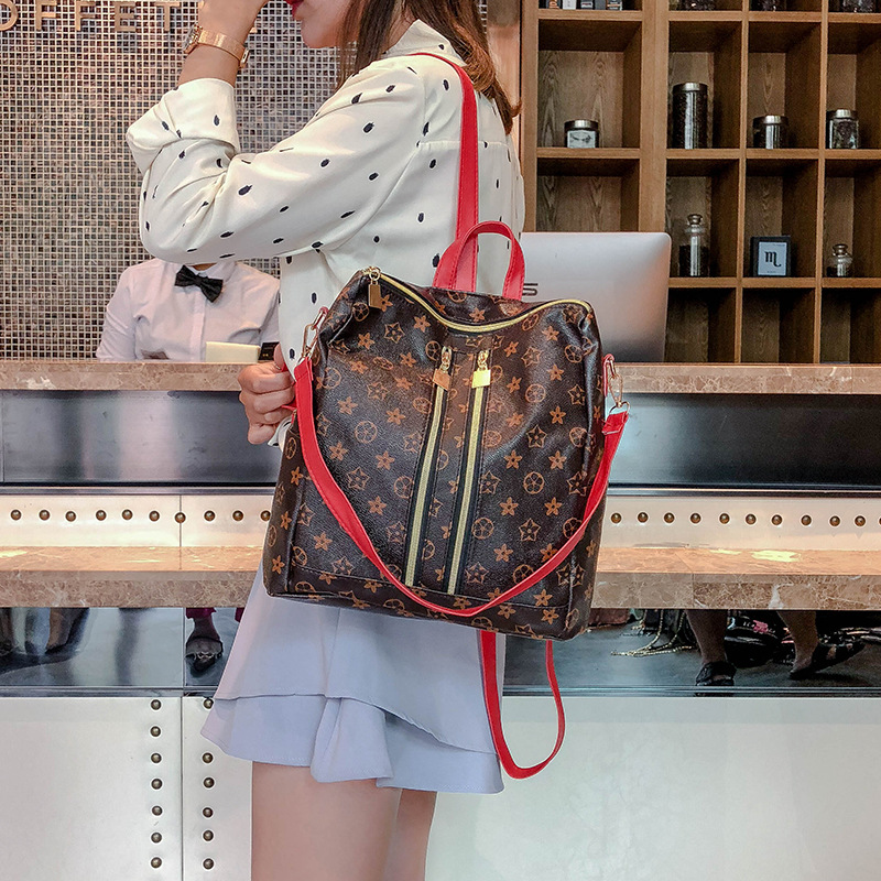 Vintage Leather Backpack Female School Bag For Teenage Girls Fake Designer Laptop Bags Famous Brand For Women's Bagpacks Pb17