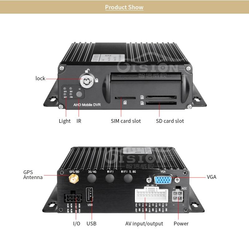 GPS dual sd 1080 ahd car video recorder kits 4pcs cctv car camera with night vision ir 4ch mobile car dvr for Truck Van bus