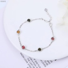 цена на gemstone jewelry factory wholesale 925 sterling silver plated natural tourmaline adjustable bracelet for women